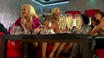 Hen party of lusty drunk MILFs ends up with wild reverse gang bang