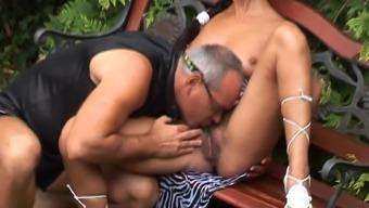 Old Man fucks young Girl Outdoor