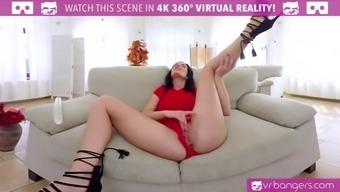 vr porn- sweet lucia denvile take a big dildo in both holes