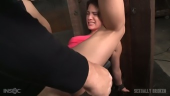 Beautiful white girl shackled to the post and fucked with BBC