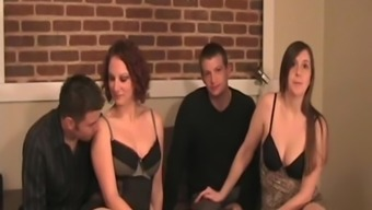 Swinging wives in lingerie are swapped by their husbands