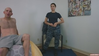 Fit army girl gets viciously drilled by a bald dude