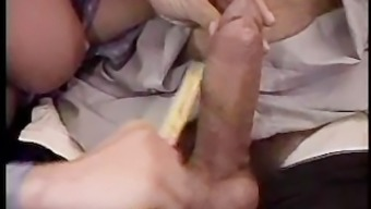 Busty Italian red head tickles his pickle