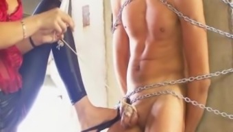 Blonde Femdom Military Cop CBT & Hot Wax Heel Domination Of A Tied Slave