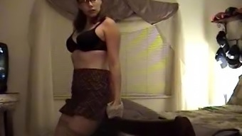 Check My MILF nerdy wife in stockings playing with pussy