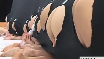 Subtitled crazy Japanese reverse glory hole anus game