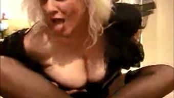 Sexy Mature Granny Porn Star Zoe Zane wears Black Stockings!