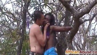 african tied to a tree bdsm and blow job