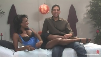 Sensual Ebony Shemale Massages and Fucks a Dude's Butt
