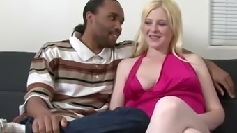 Pale blonde spreads her legs for a black man's love rod