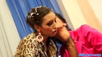 Strapon fucked glam lesbian covered in bukakke