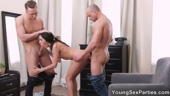 There is one way to please Kerry Cherry and it is double cock penetration