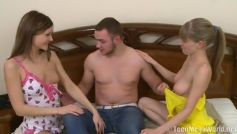 Ffm porn shoot of Russian diva with natural tits yelling when fucked