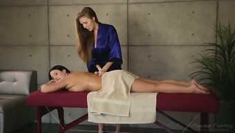 Hot babe Lena Paul is seriously obsessed with her client's sexy back and legs