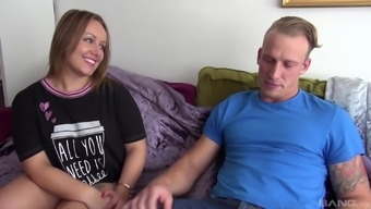 Chubby blonde Ashley Rider bends over for a fat dick