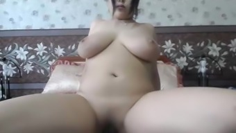 thick asian with nice natural boobs touching herself