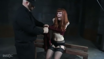 Several huge black sex toys are used for infernal restrained whore Barbary Rose