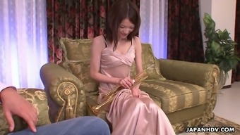 Asian saxophone player Anna Kirishima is making love with her perverted teacher