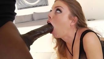 Amateur slut tries rough anal with a big black cock