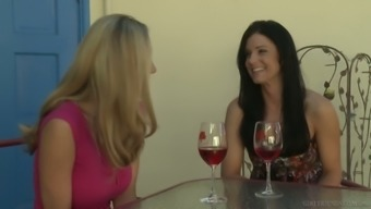 Hot big tittied blonde Anita Dark is making love with brunette