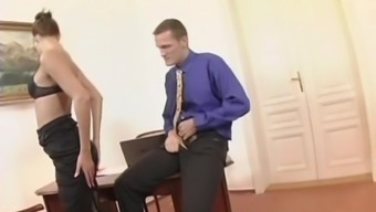 Seductive office girl in glasses gets screwed doggy style after giving a hot blowjob