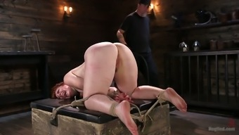 Curvy chubby woman Barbary Rose gets her pussy punished in the basement