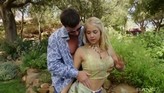 Buxom romantic babe Sarah Vandella gets fucked missionary style in the garden