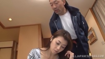 Fabulous Maki Hokujo Gets Fucked Over A Leather Couch