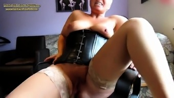 Amateur shaved blonde in fishnet stockings