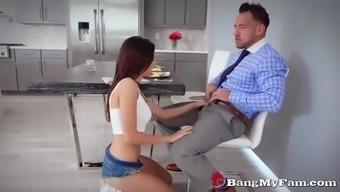 horny daughter shavelle love fucks her stepdad for breakfast