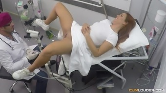 Gala Brown gets her knees dirty to please a doctor and gets jizzed