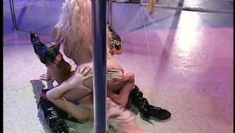 Lesbian Julia Ann stripteasing then fingering her babe pussy