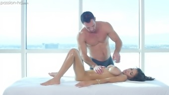 Oily massage and pussy ravaging with his bosomy Shay Evans