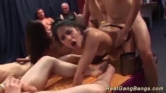 extreme wild amateur real gangbang bukkake fuck orgy with german horny chicks