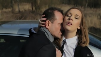 Gorgeous Alexis Crystal gets her delicious cunt plowed in the car