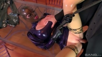 Giant breasted Lucy Latex lets two studs drill her super meaty pussy (FMM)