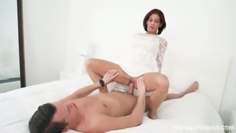 Slutty brunette Ryder Skye lifts her skirt up and gets her pussy slammed