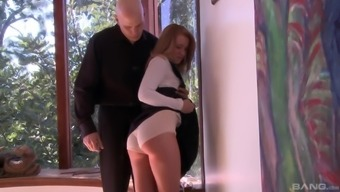 Skinny Bailey Brooke gets her ass spanked by a kinky neighbor