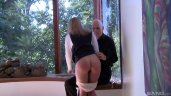 Skinny Bailey Brooke gets her ass spanked by a kinky neighbor