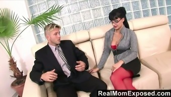 Jaw dropping ladyboss Aletta Ocean is testing a dick of her new employee