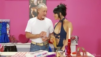 Old fart and his young friend fuck two trashy looking hookers