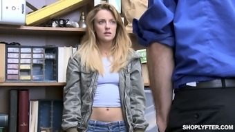 Guilty chick Kate Kenzi gets searched and fucked on the table by cop
