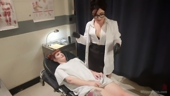 Lesbian gynecologist strapon fucks red haired patient Barbary Rose
