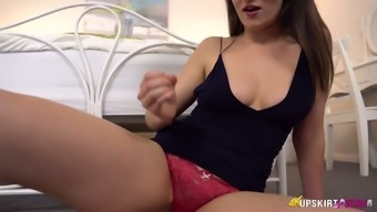 Captivating milf Charlie Rose performs her juicy pussy upskirt
