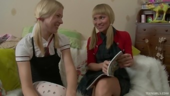 Gena and Keira are curious about a lesbian fuck with a toy