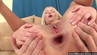 Blonde sweetie Britney Spring gets her ass stretched by a fat dick