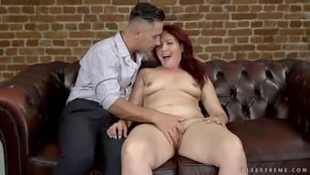 Gorgeous Red Mary gets her hairy pussy drilled with a fat dick