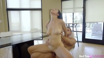 Down to fuck stepsister Jade Amber is spanked and punished by step brother Johnny Castle