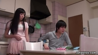 Japanese girl Yuma Miyazaki is fucked and creampied by step brother