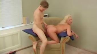 Russian mom fucks sons friend